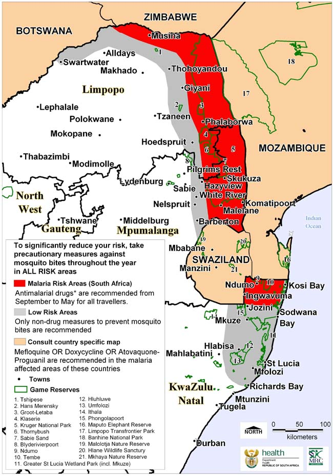 Malaria Risk in South Africa 2007